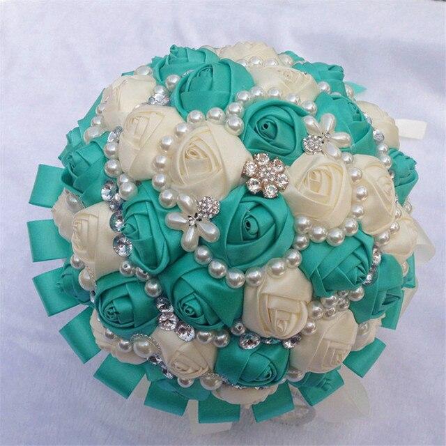 Bouquet Sposa Economico.Us 49 99 2017 Bouquet Da Sposa Economici Avorio E Verde Luxury Bling Sparkle Wedding Flowers Bouquet Da Sposa Artificiale Bouquet De Matrimonio In