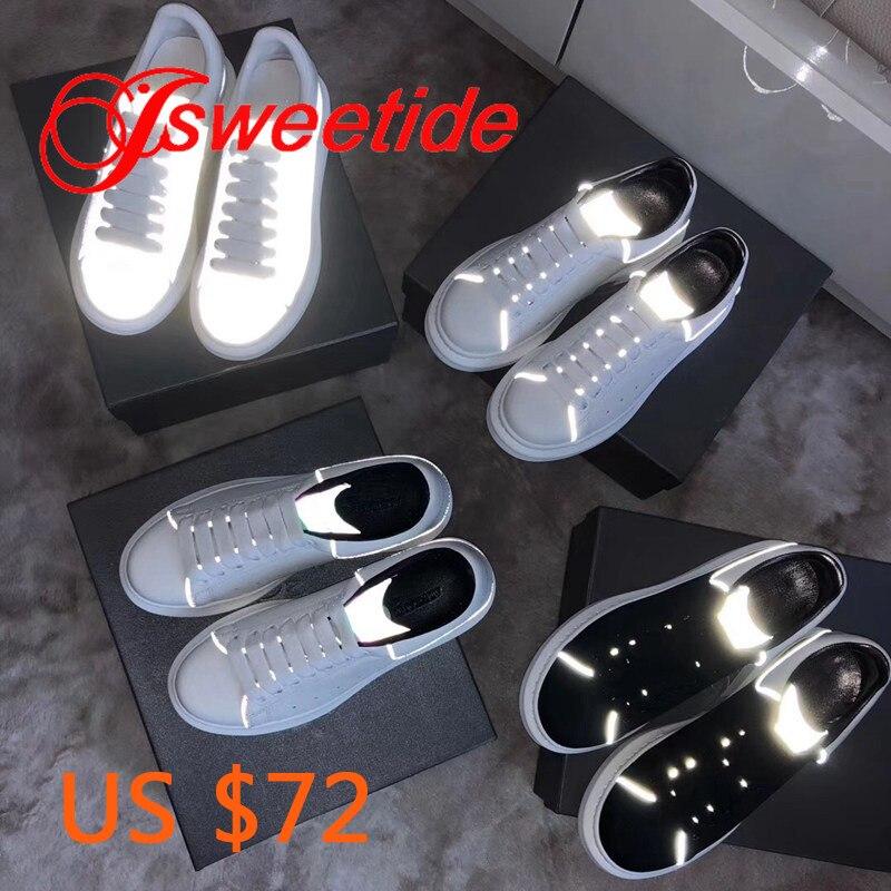 الأزياء عارضة شقة أحذية السيدات أحدث مضيئة حذاء أبيض أحذية رياضية حقيقية جلدية الانزلاق على منصة الزواحف أحذية نسائية-في أحذية نسائية مسطحة من أحذية على  مجموعة 1