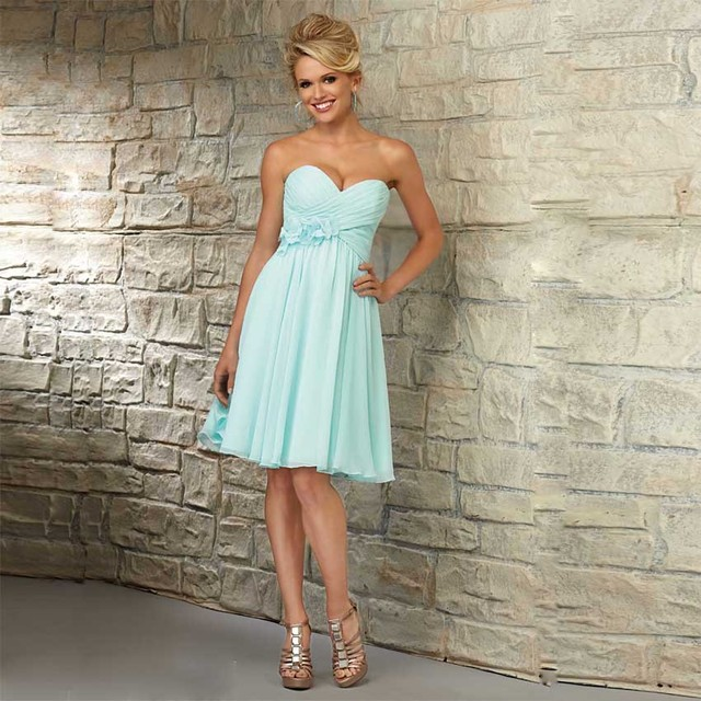 B3053 Mint Green Turquoise Short Chiffon Bridesmaid Dresses Beach