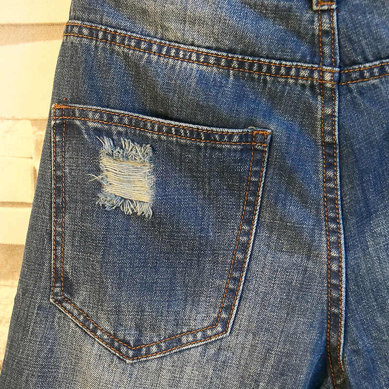 Fori Denim Shorts Blu Brevi Jeans degli uomini Nuovi Uomini di Estate Etero Jean Shorts Degli Uomini di lunghezza del Ginocchio Pantaloncini Blu Denim