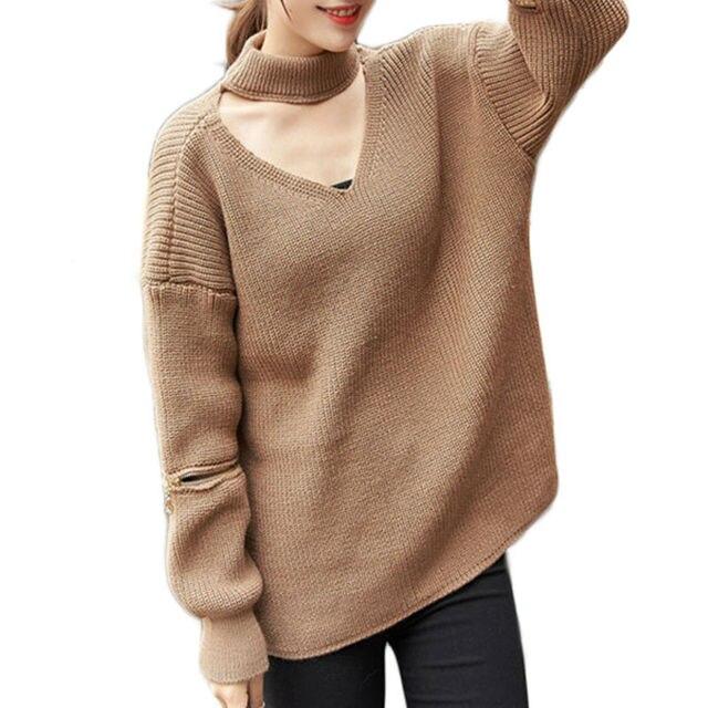 Холтер трикотажные свитера женщины открытой молнией рукав пуловеры Осень Зима теплая пуловеры перемычки WN302