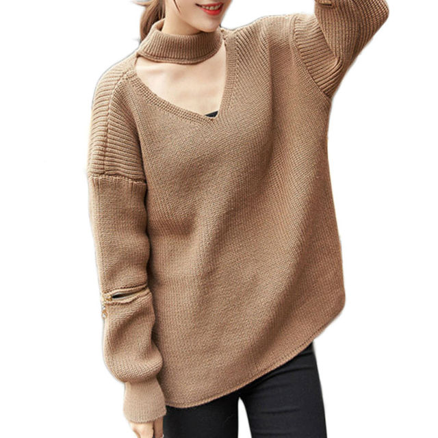 Halter knitted sweater women open zipper sleeve pullovers Autumn Winter warm pullover jumpers WN302