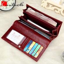 CONTACT'S Echtem Leder Brieftaschen Frauenmappen Lady Handtasche Lange Brieftasche Alligator Mode Weibliche frauen Kupplung Mit Kartenhalter