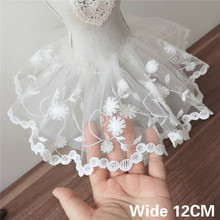 12CM Wide Luxury White Embroidery Flowers Mesh Lace Applique Ribbon Edge Trim For Wedding Dresses Head Veil DIY Sewing Supplies