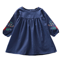 Fashion Girls Dress Blue And Yellow 2 Colors Autumn Fashion Embroidery Flower Sleeve Lace Splicing Children