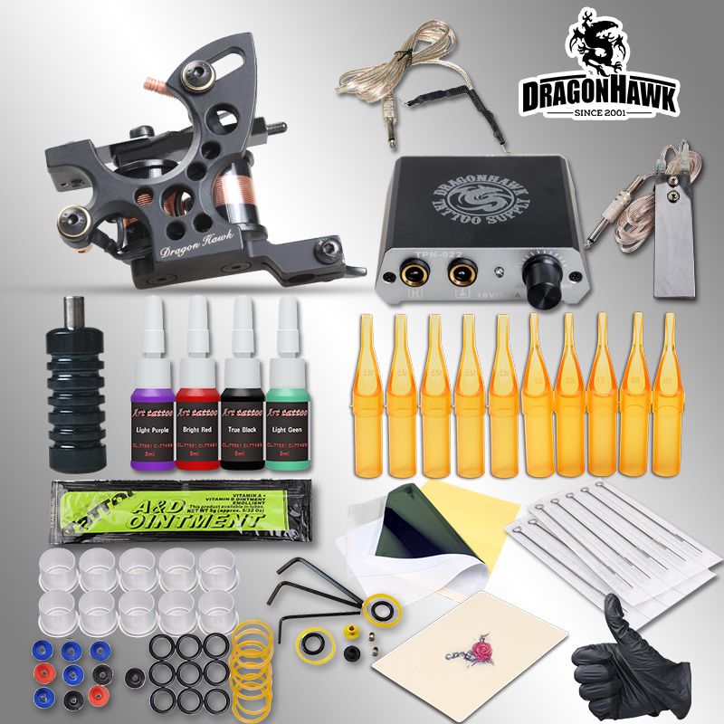 Complete Tattoo Kits 8 Wrap Coils Guns Machine 1/6oz Black Tattoo Ink Sets Power Supply Disposable Needle Free Shipping professional tattoo kit 5 guns complete machine equipment sets teaching cd ink for beginners body art beauty tools tk 2509 m