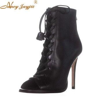 Women Shoes Adult  Ladies Black boots Zipper Super High Thin heels Peep Toe Cross-Tied Fashion Elegant Mature Novelty Sexy 2019