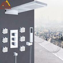 Quyanre хром термостатический смеситель для душа набор дождь водопад душ 6 шт. гидромассажем 4-полосная Термостатический смеситель для ванны набор для душа