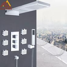 Quyanre כרום תרמוסטטי מקלחת ברזי סט גשם מפל מקלחת 6pcs מטוסי ספא 4 דרך תרמוסטטי מיקסר ברז אמבטיה ערכת מקלחת