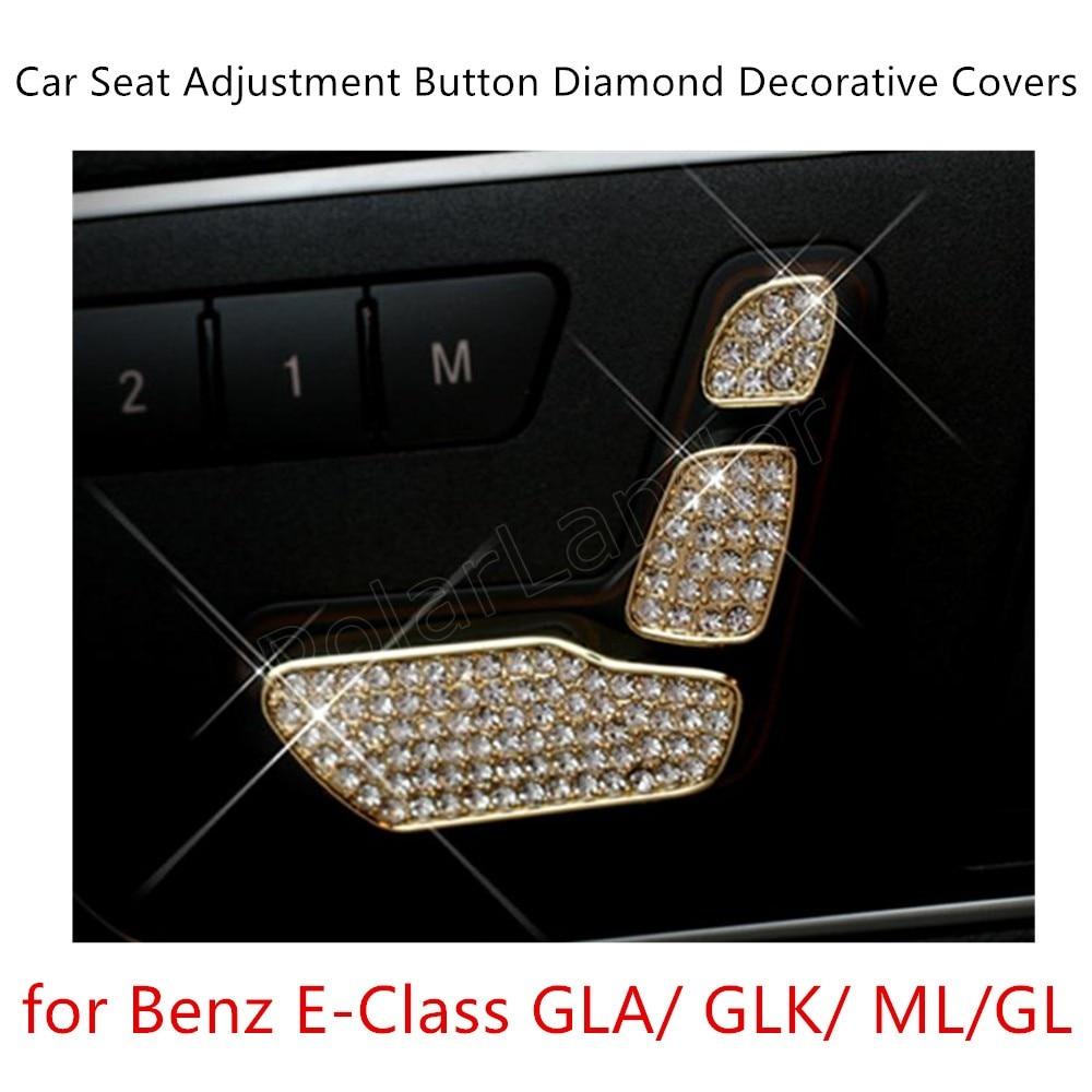 6PCS 3 Colors Available For M-ercedes For B-enz E-Class GLA/GLK/ML/GL S/eat Adjustment Sequins Diamond Decoration Stick Cover