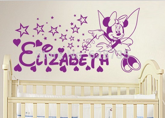 Eco Friendly Personalized Name Grils Room Decoration Wall Stickers Minnie  Mouse Custom Name Wall Decals
