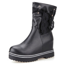 New Fashion Vintage Women Martin Rain Boots Low Heel Wedges Female Rubber Boots for Rainy Days Winter Shoes Ankle Boots ZT566