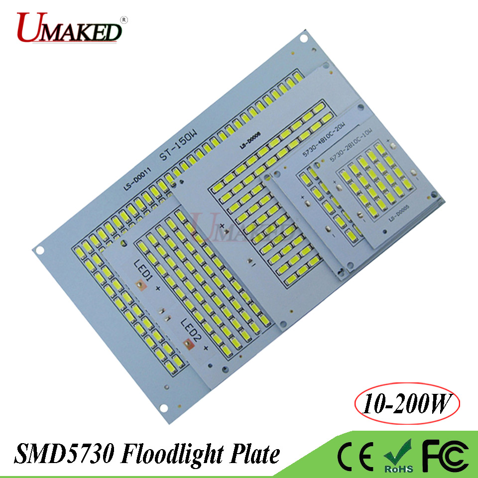 Full Watt LED PCB SMD5730 COB Floodlight Plate 10W 20W 30W 50W 100W 150W 200W Aluminum Hear Sink Light Source For Spotlight Lamp