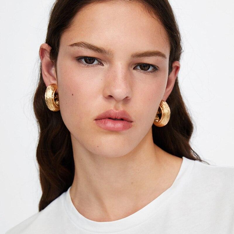 Dvacaman 2018 Trendy Gold Sliver Color Stud Earrings Women ZA Punk Metal Hanging Earrings Summer Beach Jewelry Wholesale AI18