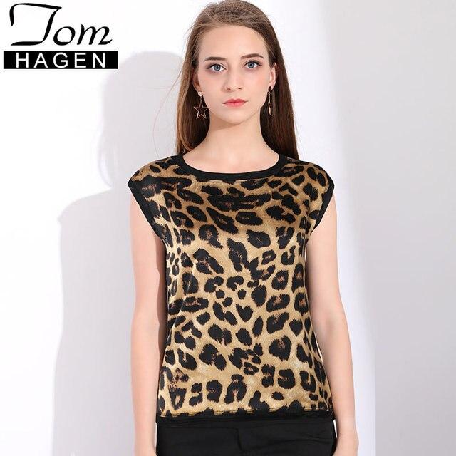 e838ac33ffbda7 Women's Silk Satin Blouses Printed Leopard Blouse Women Sleeveless Summer  Chiffon Shirt Leopard Print Top Blusas Femininas