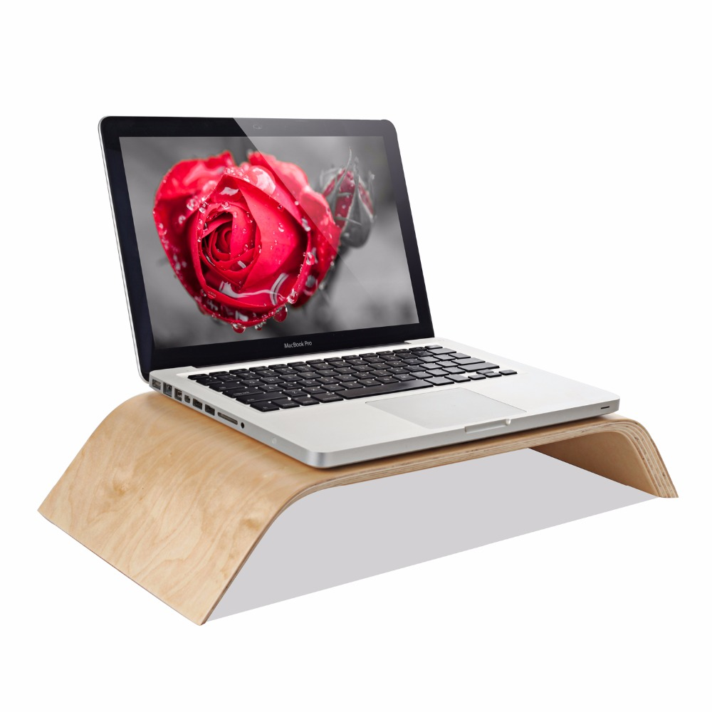 SAMDI - Laptop Birch Wood Stand Wooden Notebook Desktop Holder PC Display Riser Bracket Stand for Apple iMac Macbook Computer ...