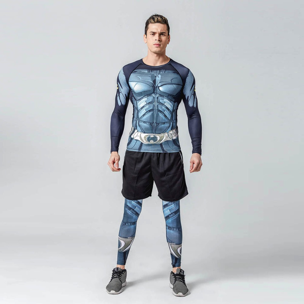 43f629147923 Long Sleeve Compression T Shirt Leggings Batman 3D Printed T shirts Pants  Sets Men Gym Sports Shirts Tights Suits Fitness A203L-in Running Sets from  Sports ...