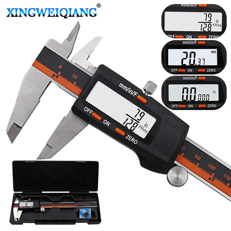 Stainless Steel Digital Display Caliper 150mm Fraction MM Inch High Precision Stainless Steel LCD Vernier Caliper