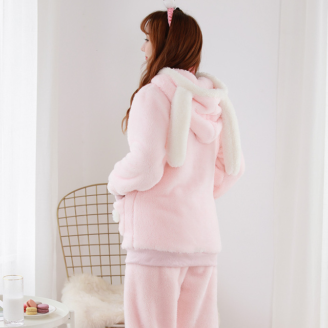 Winter keep warm kawaii rabbit pajamas sets women cartoon hooded zipper Coral  fleece flannel sleepwear for 1939b4a21