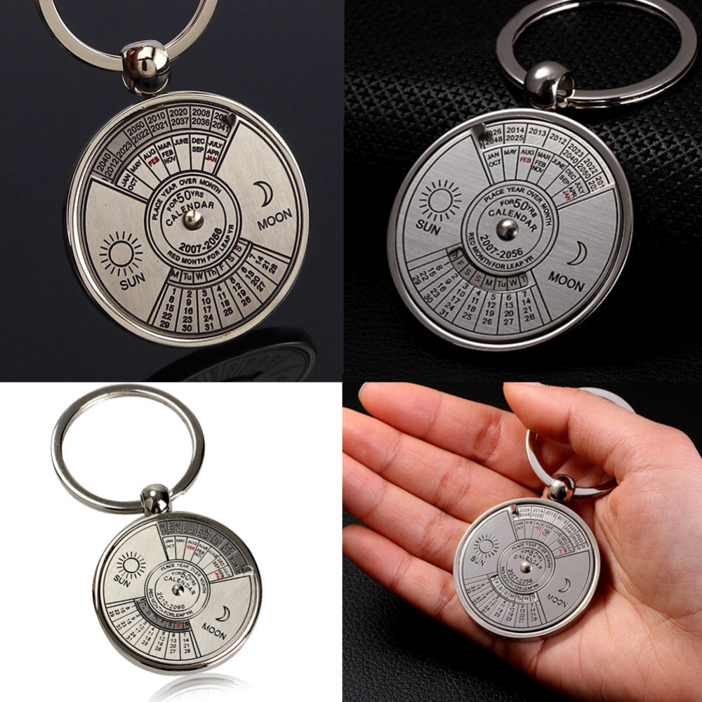 Mini Perpetual Calendar Keychain Unique Metal Keyring Zinc Alloy Sun Moon Carving 2010 To 2060 Calendar Key Ring Creative Gifts