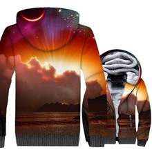 Sun Moon Star Clouds Print Natural Scenery 3D Hoodies 2019 New Style Space Galaxy Warm Jackets Winter Thick Fleece Sweatshirts