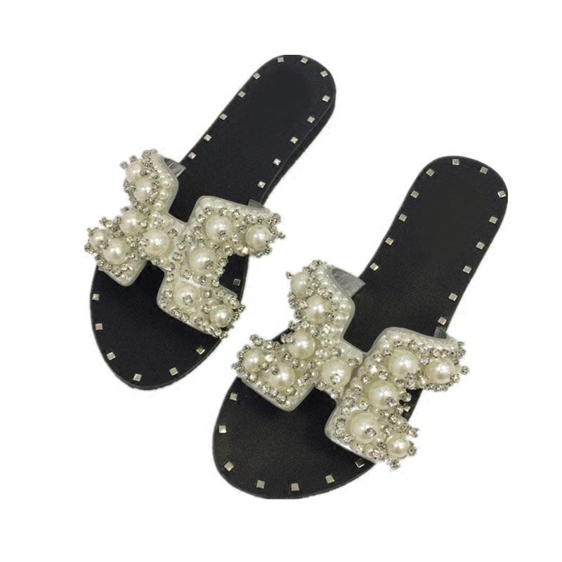 2017 printemps été haut cristal strass solide perle plage tongs nouvelles pantoufles perle à lanières appartements romain sandale femme - 5