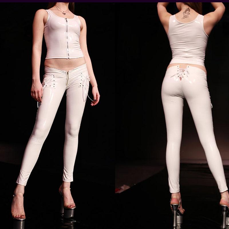 PVC Shiny Lace Up Low Rise Pencil Pants Low Waist Leggings Casual Pants Capris Moto & Biker Stage Wear Sexy Capris Plus Size