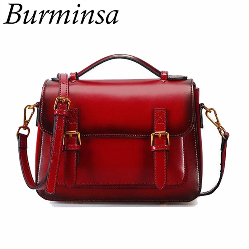 Brminsa Women Vintage Genuine Leather Messenger Bag Ladies Small Handbag Designer Brand High Quality Shoulder Crossbody Bag 2018