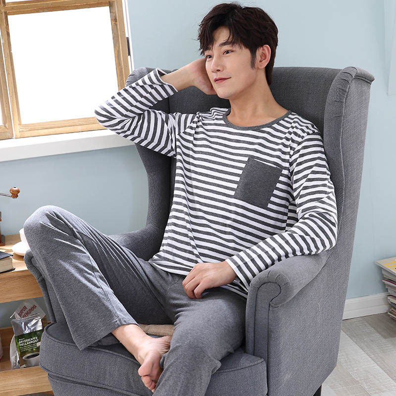 2019 Spring And Autumn Men's Pajamas Long-sleeved Cotton Explosion Models Large Size Men's Casual Home Service Suit
