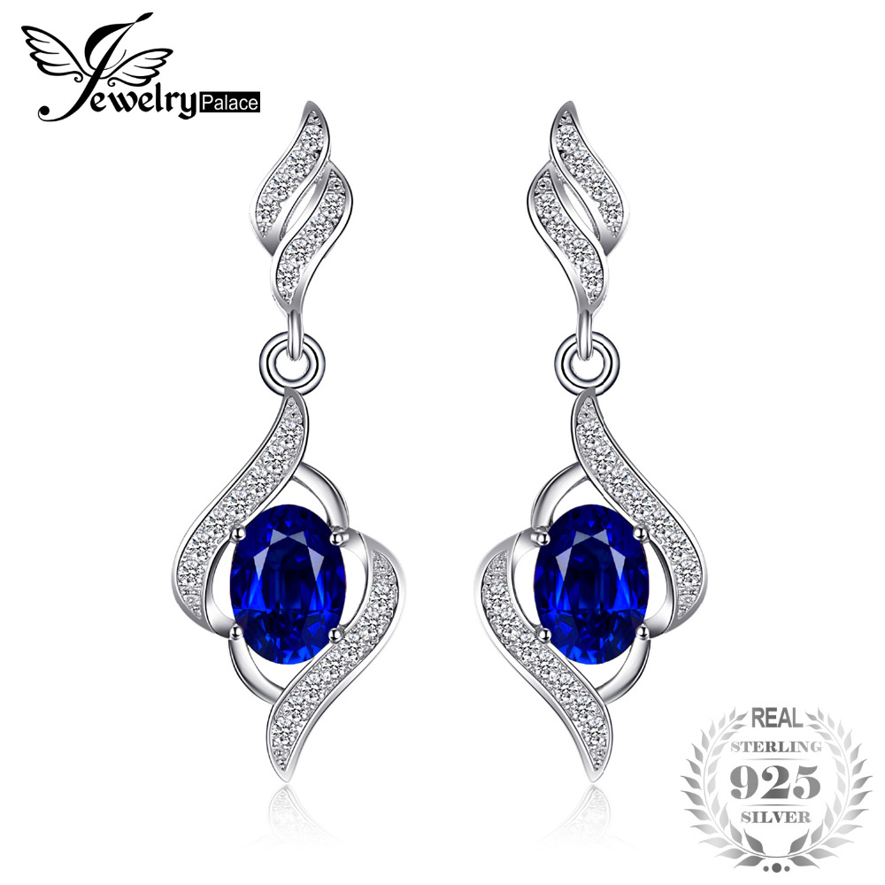 JewelryPalace 2.2ct Created Gemstones Blue Sapphire Drop Dangle Earrings 925 Sterling Silver Earrings Jewelry Sets for WomenJewelryPalace 2.2ct Created Gemstones Blue Sapphire Drop Dangle Earrings 925 Sterling Silver Earrings Jewelry Sets for Women