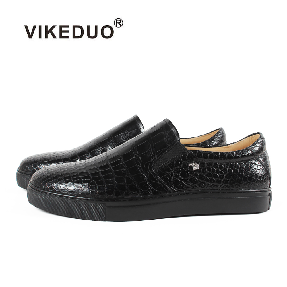 Vikeduo 2019 Classic Crocodile Skin Handmade Designer Alligator Fashion Genuine Leather Shoes Luxury Leisure Men's Casual Shoes