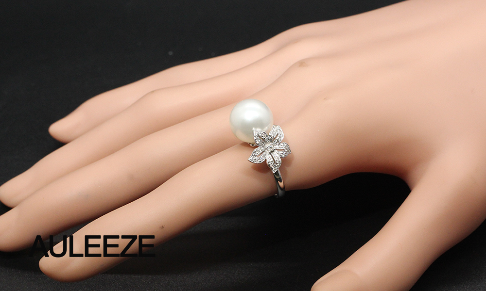 Floral Design Real Diamond Ring 11mm Natural Seawater Pearl Ring 18K White Gold Engagement Wedding Rings For Women Fine Jewelry 9