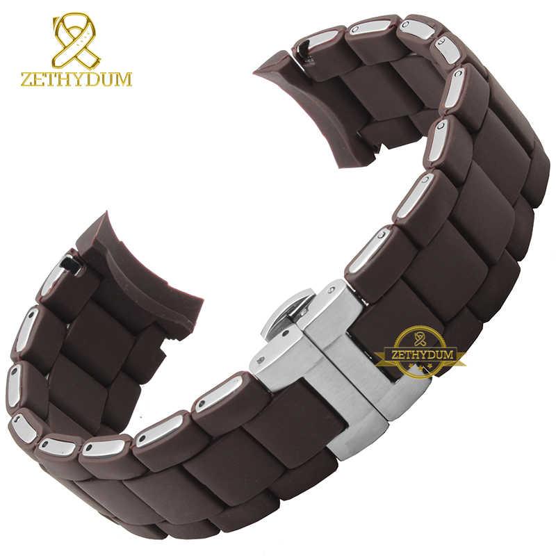 Karet Gelang Jam Gelang Silikon Gelang Perak Warna Gesper 20 23 Mm Watch Band Tali untuk AR5921 5922 5858 5868 5859 5867