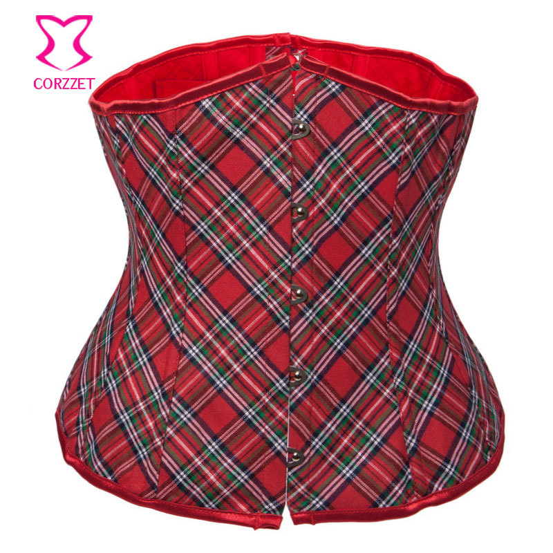 Christmas Red tartan Plaid underbust Corset Sexy Women Waist Bustier Corsets school girl body shaper Corselet gothic clothes