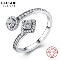 ELESHE Fashion Round Princess Cut Sparkling Cubic Zirconia Open Rings For Women Jewelry Real Solid 925