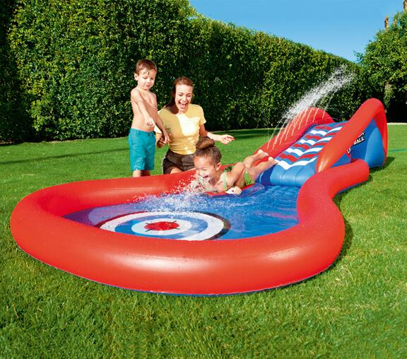 381cm Eco-friendly PVC Kids Baby Inflatable Slide Play Swimming Pool Piscina Children Kids Large Swim Boat S7010 239cm eco friendly spring pvc kids baby inflatable slide play swimming pool piscina children kids large swim boat s7011