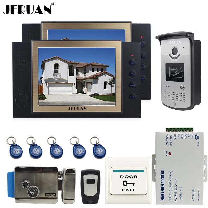 JERUAN 8`` LCD video door phone doorbell intercom system access control system Camera video recording +E-lock