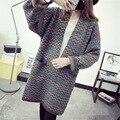 Длинный Кардиган для Женщин Корейский национальный волна полосатый Вязаный свитер Свободные длинные casaco Длинное пальто новый осень пиджаки Пальто топы