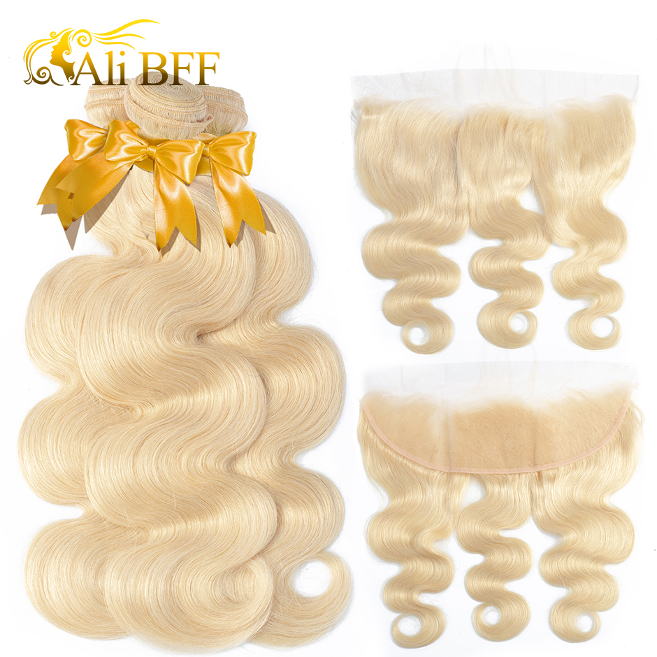 ALI BFF <font><b>613</b></font> Blonde <font><b>Bundles</b></font> With Frontal Brazilian <font><b>Body</b></font> <font><b>Wave</b></font> With Frontal Remy Blonde Human <font><b>Hair</b></font> Lace Frontal Closure With <font><b>Bundle</b></font> image