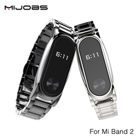 Original Mijobs Metal Strap For Xiaomi Mi Band 2 Straps Screwless Stainless Steel Bracelet Replace Accessories