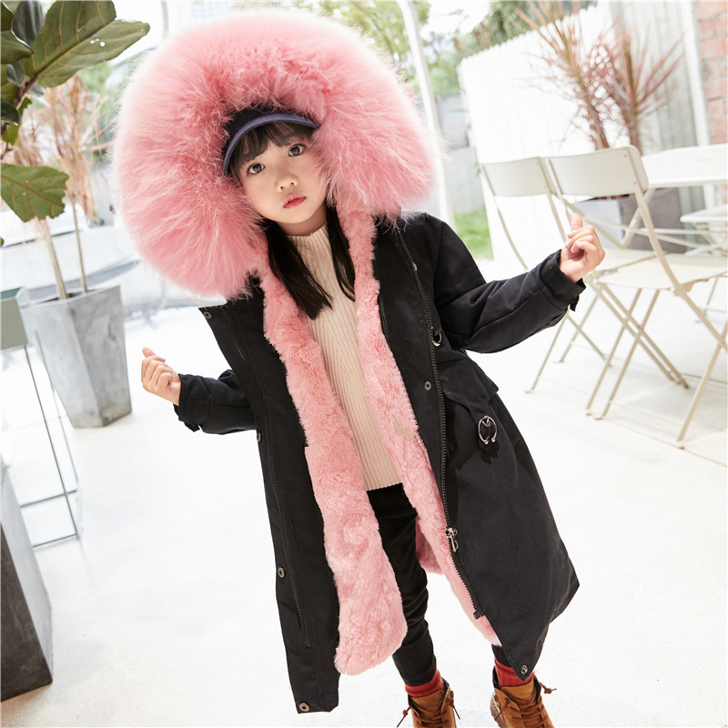 JKP 2018 new real rabbit fur pie to overcome winter fashion jacket children children raccoon fur collar coat boy girl jacket 5615 new fashion children natural fur jacket boy