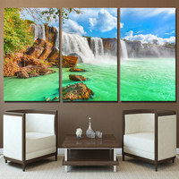 Canvas Wall Art Poster Living Room Home Decor HD Printed Picture 3 Piece Unframe Waterfall Natural