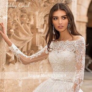 Image 5 - Ashley Carol ślub księżniczki sukienka 2020 z długim rękawem aplikacje zasznurować łódź szyi rocznika linii suknia ślubna Vestido De Noiva