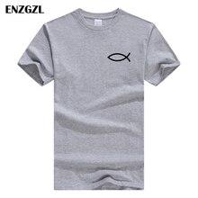 Новинка года, летняя мужская футболка, хлопок, футболка с коротким рукавом, высокое качество, футболка для мальчиков, топы серого цвета с изображением христианского Иисуса, рыбы, Z4925