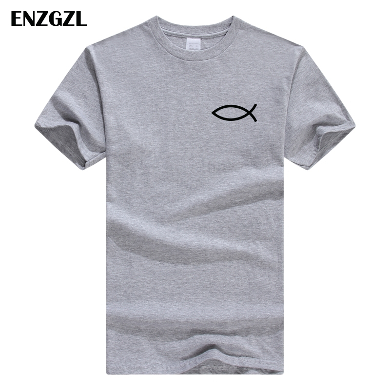 2019 New Summer   T     Shirt   Mens 100% cotton   T  -  shirts   Tee Short Sleeve high quality Boy Tshirt TOPS gray Christian JESUS fish Z4925