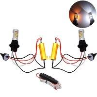 YIJINSHENG T20 Led 42 SMD Yüksek Güç Gündüz Işık + Dönüş Sinyali DRL Çift Mod 1156 T20 T25 7440 SMD WY21W Çalışan Lambalar