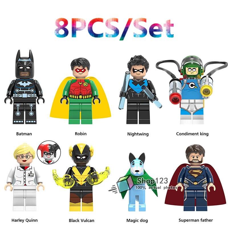 Blocks Toys & Hobbies 8pcs/lot Super Heroes Batman Robin Nightwing Condiment King Harley Quinn Building Blocks Toys Gifts Model For Children X0198