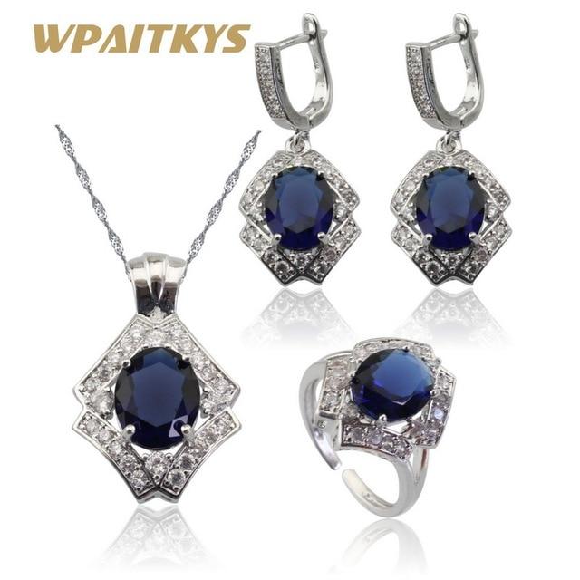 Blue Crystal White CZ Bạc Màu Bộ Đồ Trang Sức Cho Phụ Nữ Mở Nhẫn Mặt Dây Chuyền Vòng Cổ Bông Tai Tặng Hộp WPAITKYS