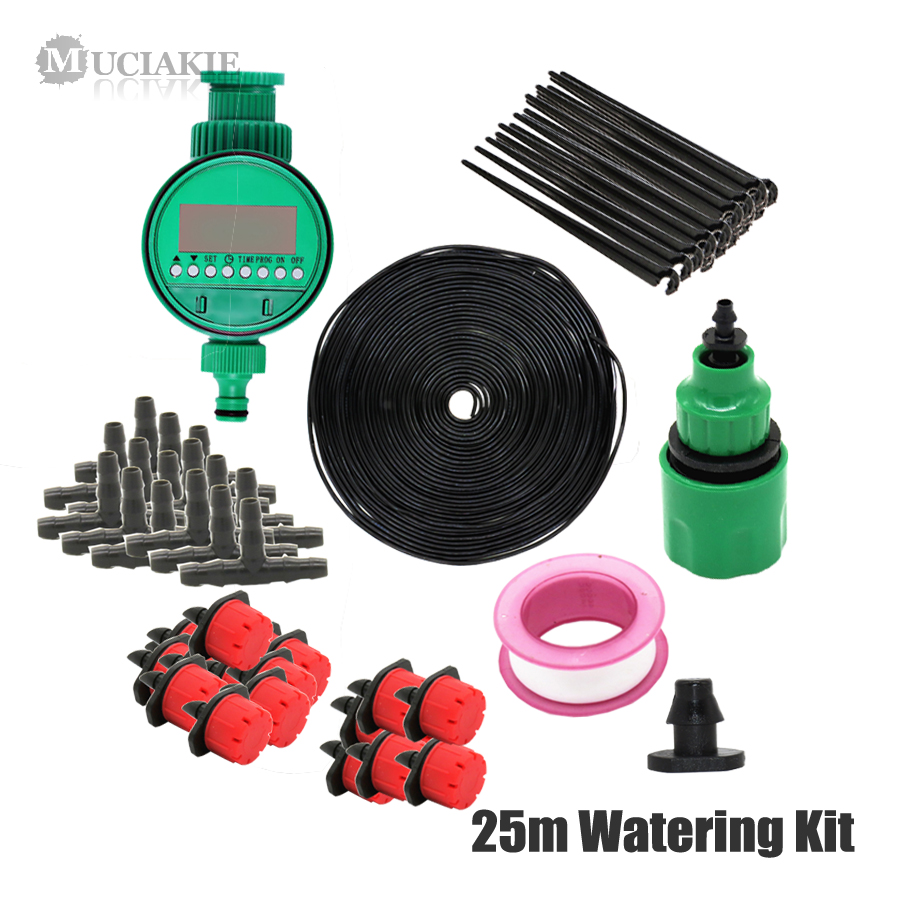 MUCIAKIE 25m DIY Micro Drip Irrigation System Plant Self Automatic Watering Timer Garden Hose Watering Kits