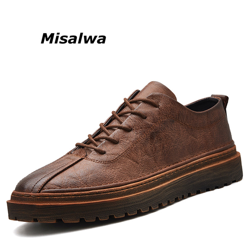 Misalwa New Fashion Sneakers Mens Autumn Uniform Work Shoes Casual Off-Road Cowboy Male Lace-up Vintage Leather Zapatos Hombre red off shoulder lace up elastic waistband casual co ords
